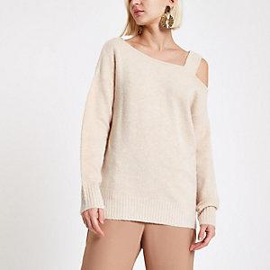 Beige asymmetric shoulder knit jumper