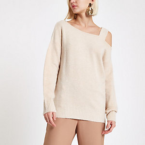 Beige asymmetric shoulder knit sweater