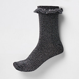 Silver metallic frill ankle socks