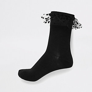 Black cable knit spotty mesh frill socks