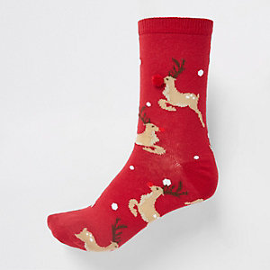 Red reindeer print pom pom trim ankle socks
