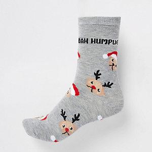 Grijze sokken met 'bah humpug'-print