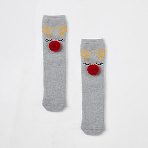 Grey reindeer pom pom slipper socks