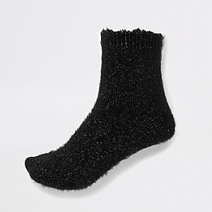 Black glitter fluffy socks