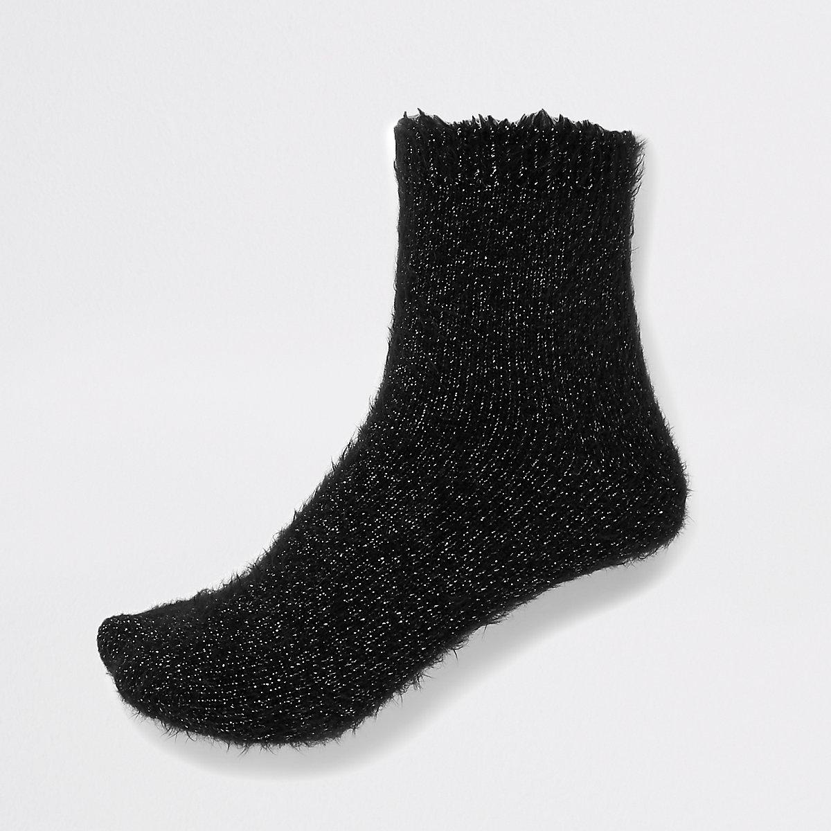 Black glitter fluffy socks