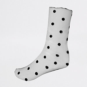 Black sheer polka dot ankle socks