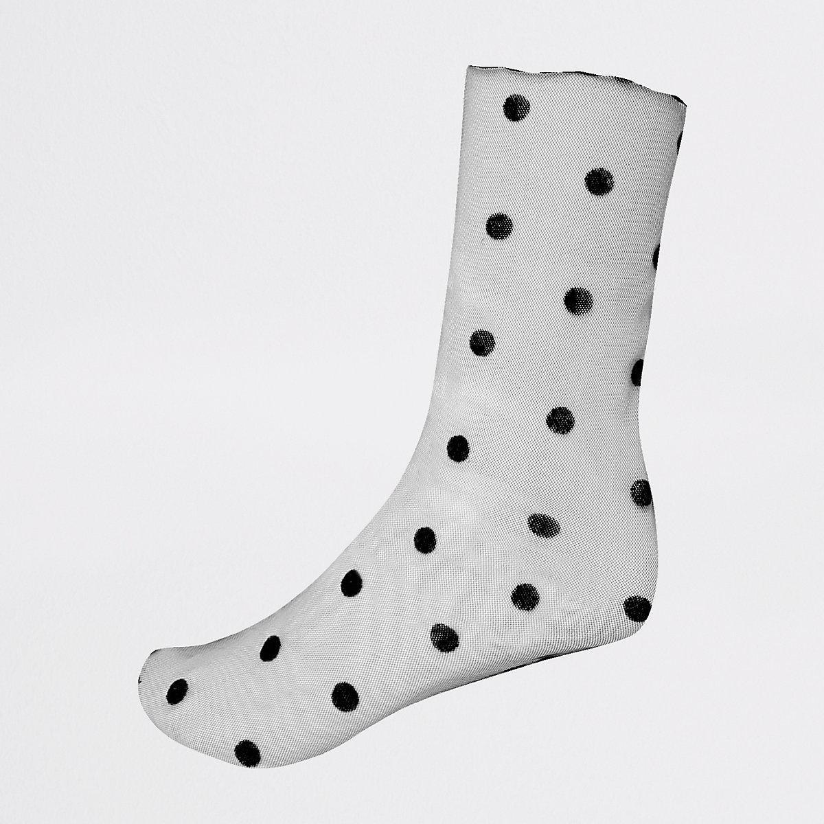 Black sheer polka dot ankle socks