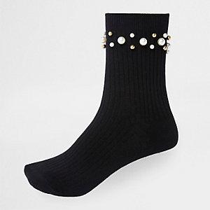 Schwarze Sneakersocken mit Perlenverzierung
