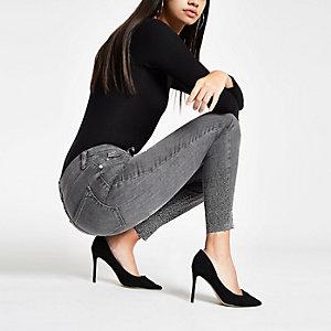 Harper – Graue, verzierte Super Skinny Jeans im Used Look