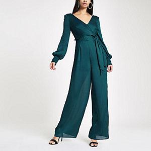 Turquoise wrap front wide leg jumpsuit
