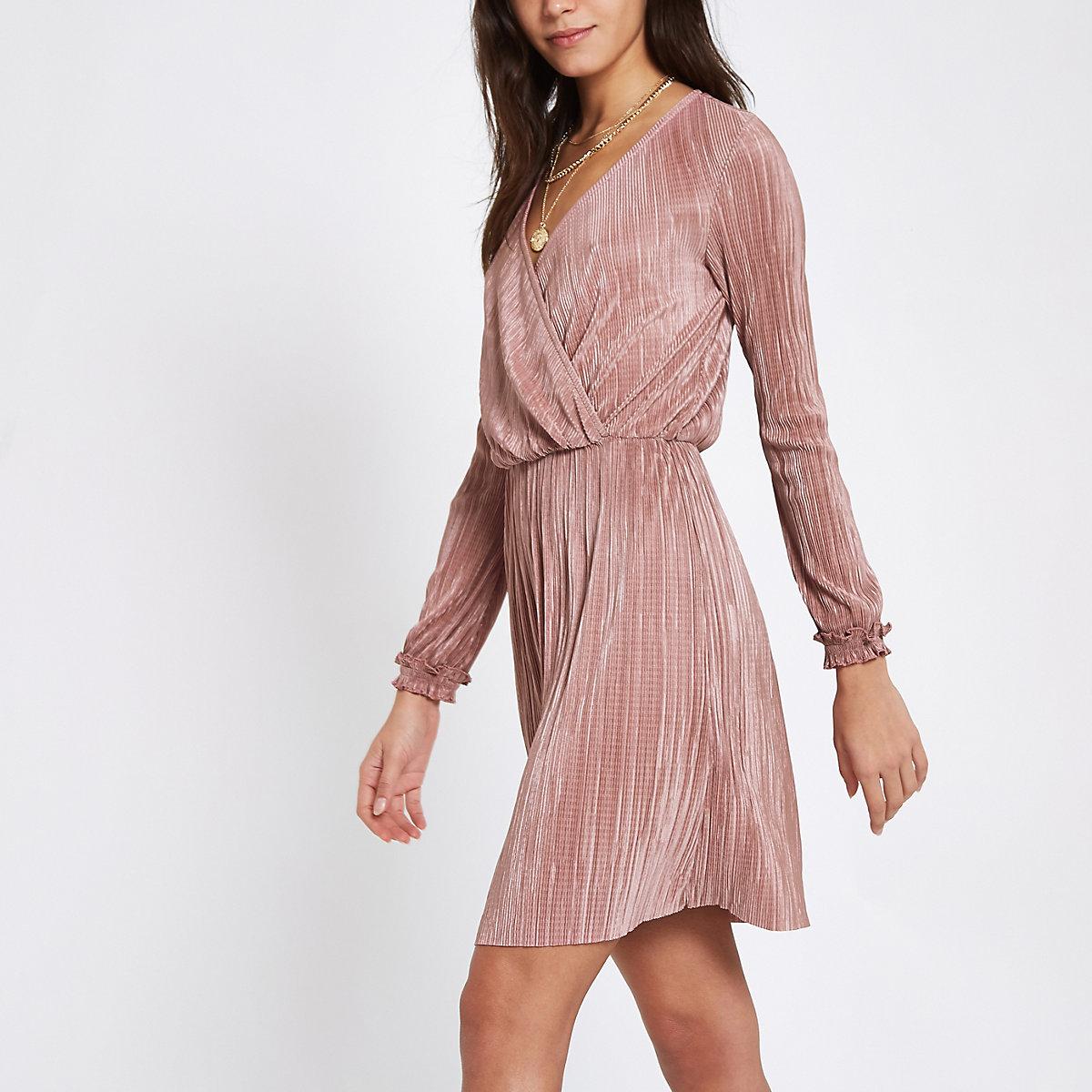 Light pink plisse wrap front mini dress