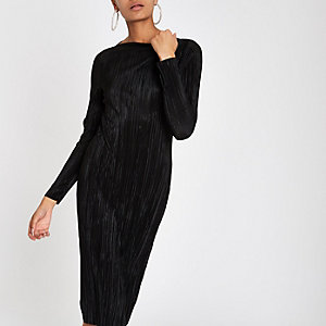 Black plisse midi boat neck bodycon dress