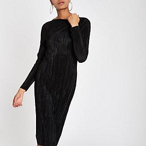 Black plisse midi boat neck bodycon dress