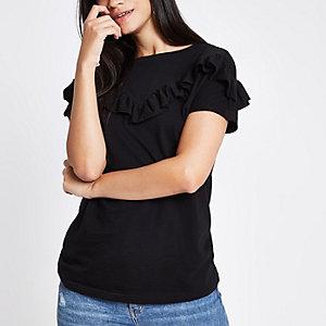 T-shirt manches courtes noir à volants