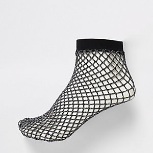 Black metallic fishnet socks
