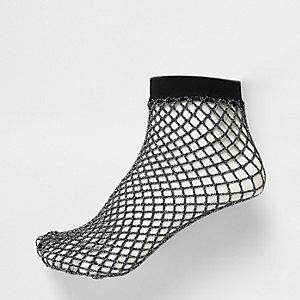 Black metallic fishnet socks