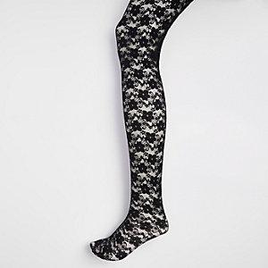 Zwarte kanten panty