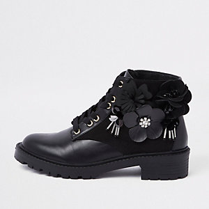 Black floral embellished lace-up boots