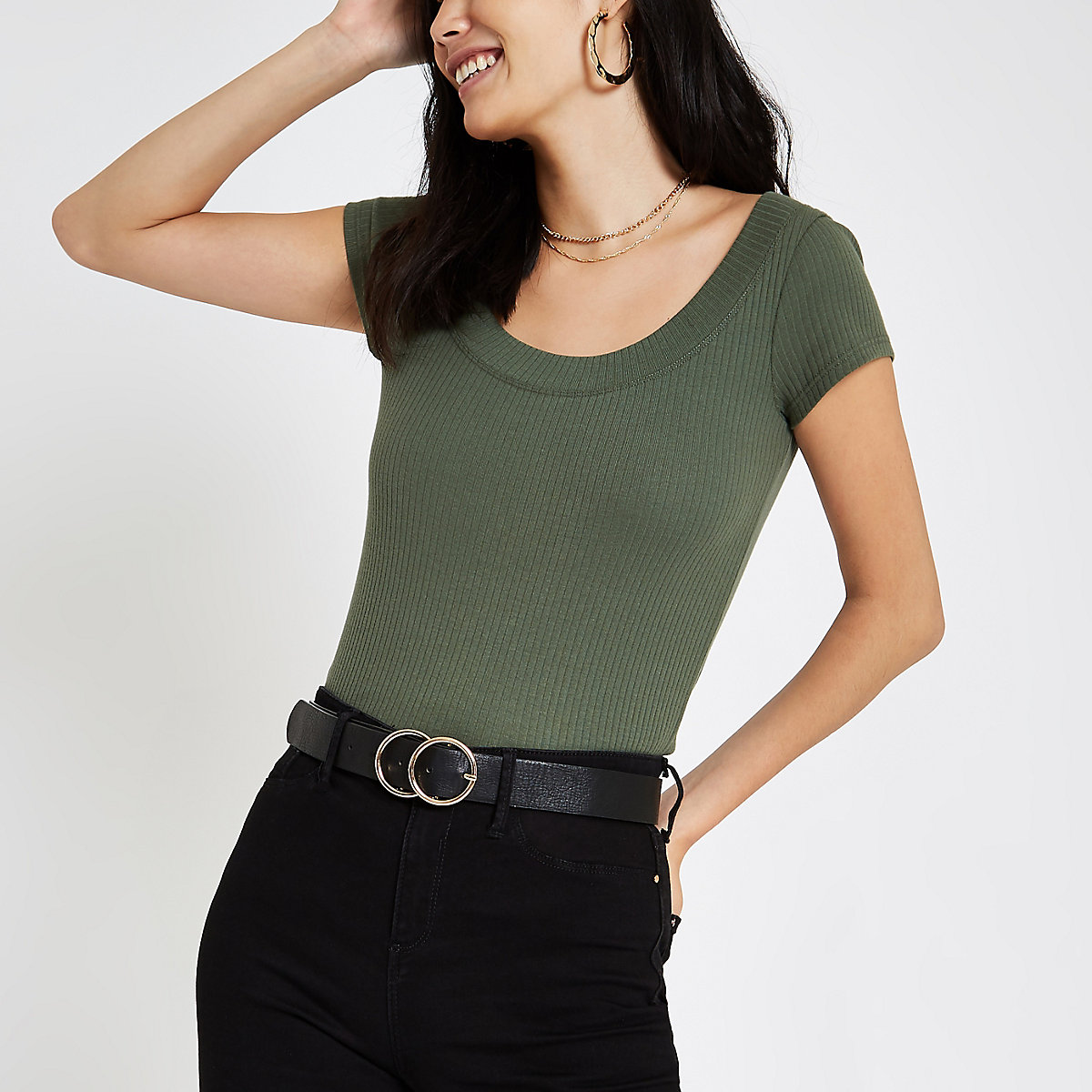 Khaki green ribbed scoop neck T-shirt