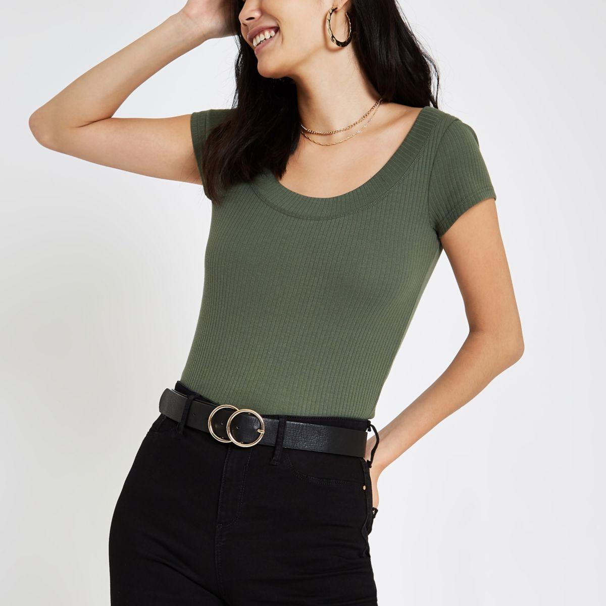 Khaki green ribbed scoop neck T-shirt