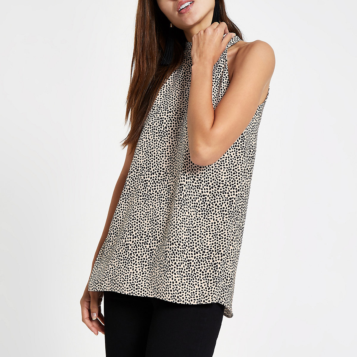 Black spot print halter neck top