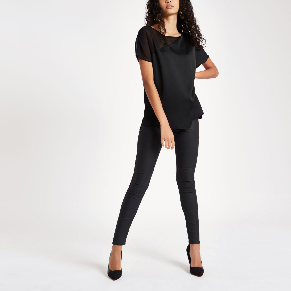 Black sheer shoulder sleeve T-shirt