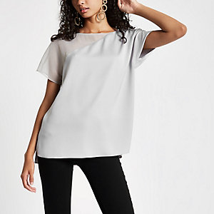 Grey chiffon hem sleeve T-shirt