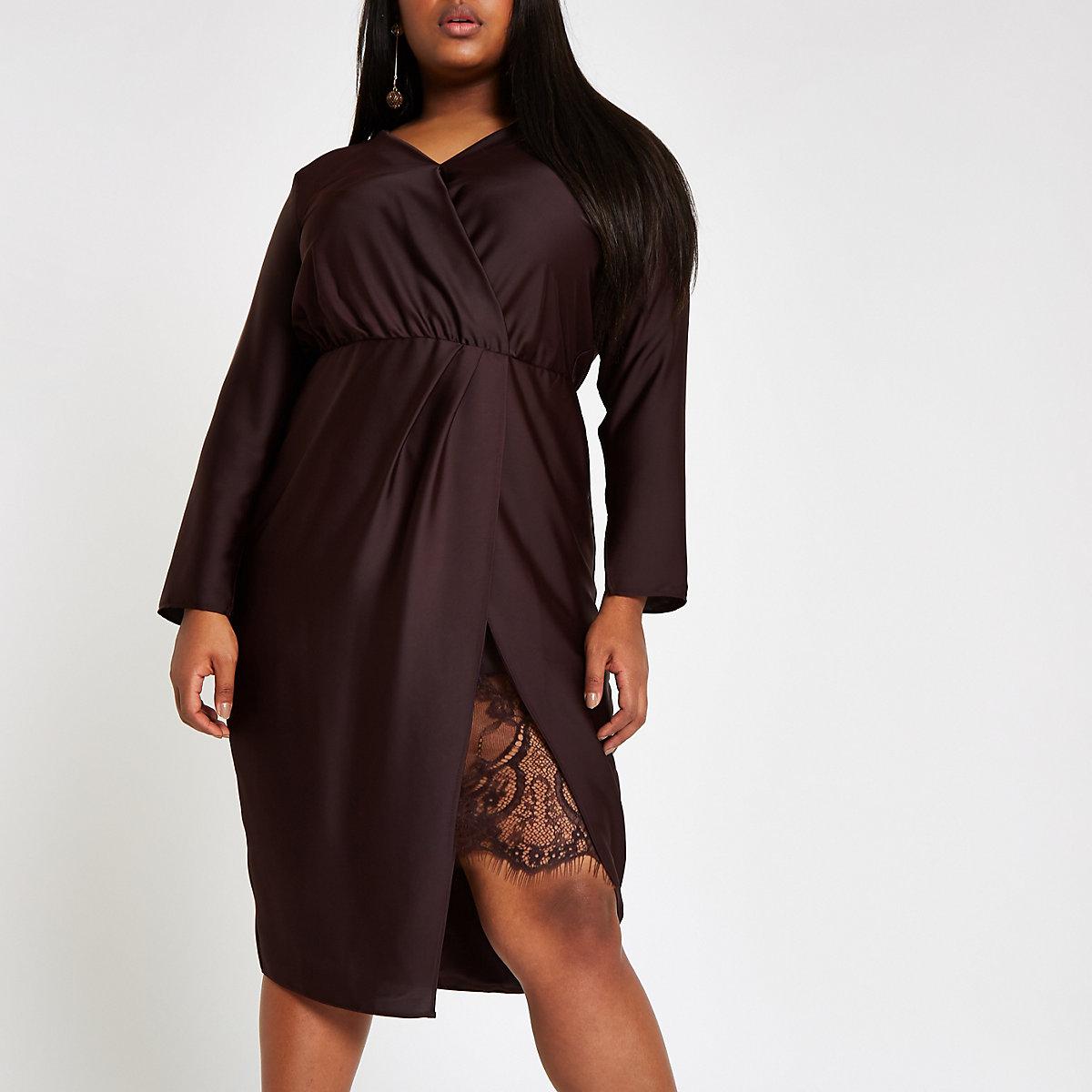 Plus purple wrap front waisted midi dress
