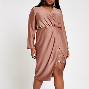 Plus pink wrap front waisted midi dress