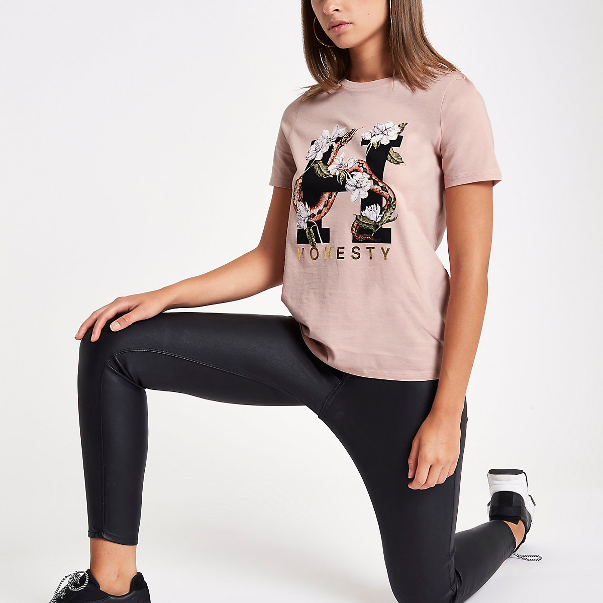 Pink snake 'honesty' print T-shirt