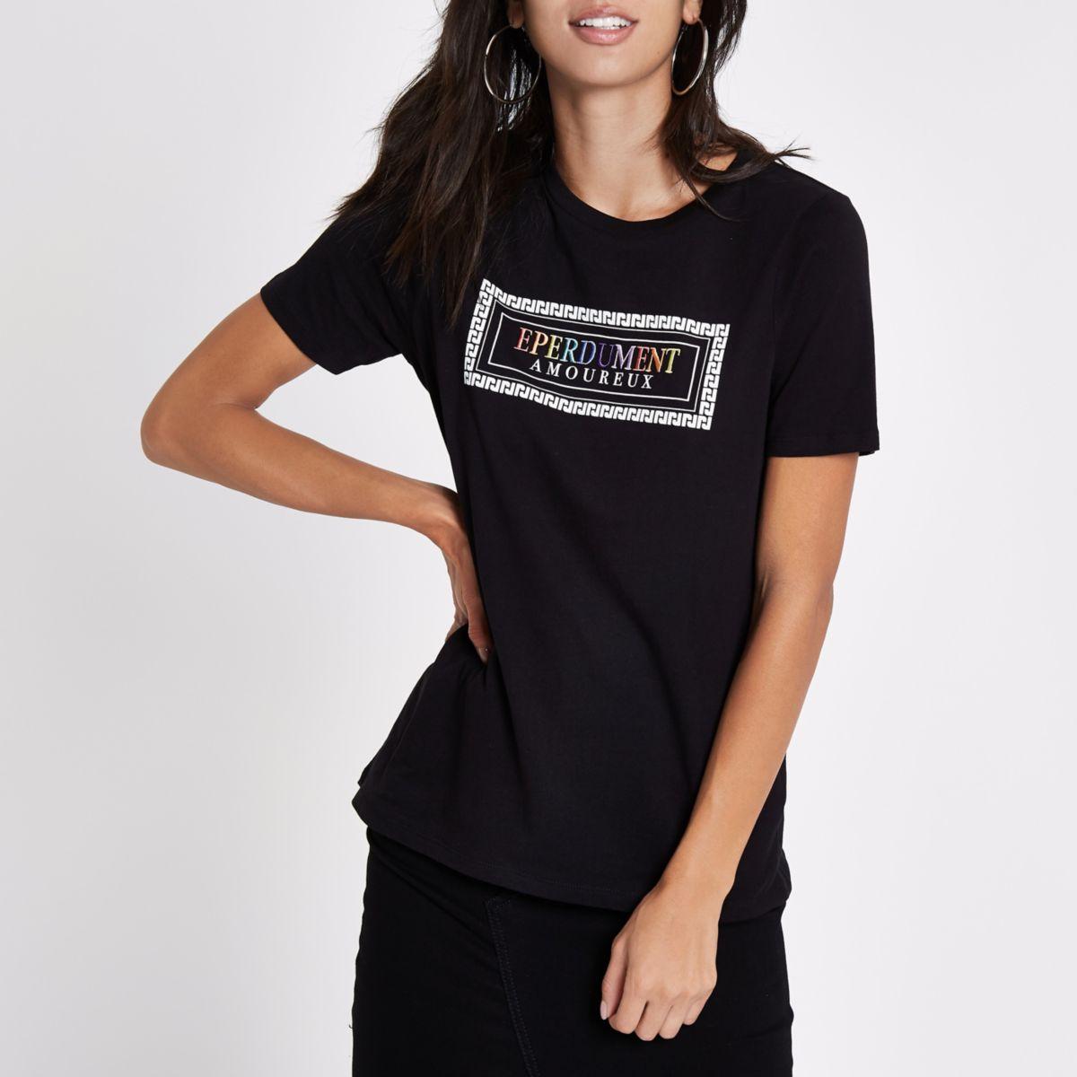 T-shirt à broderie «Eperdument» noir