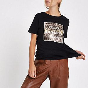 Zwart T-shirt met 'Egalite'-print voor