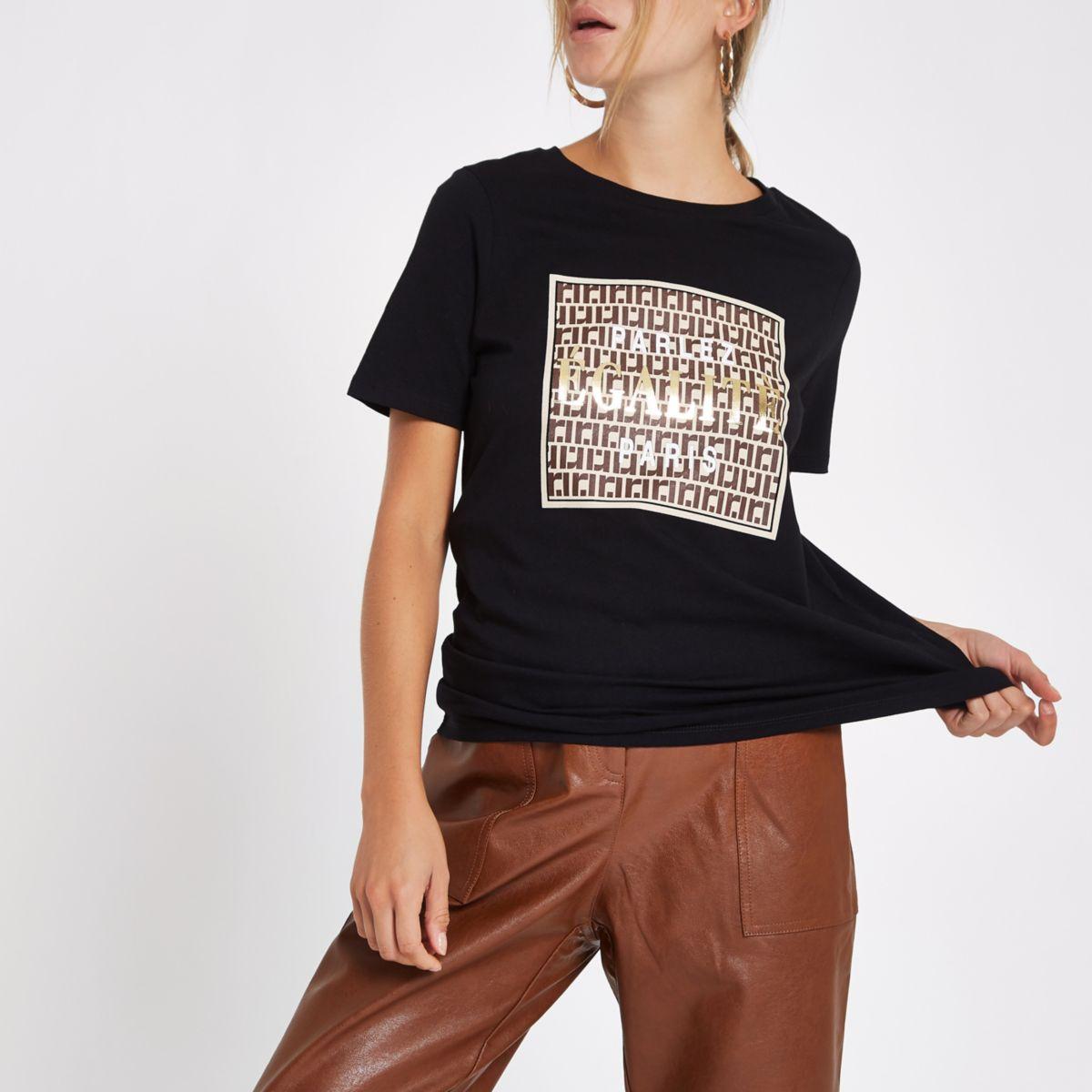 Black 'Egalite' front print t-shirt