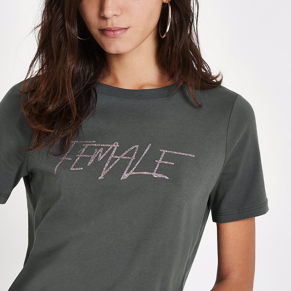 Grey sequin 'female' print t-shirt