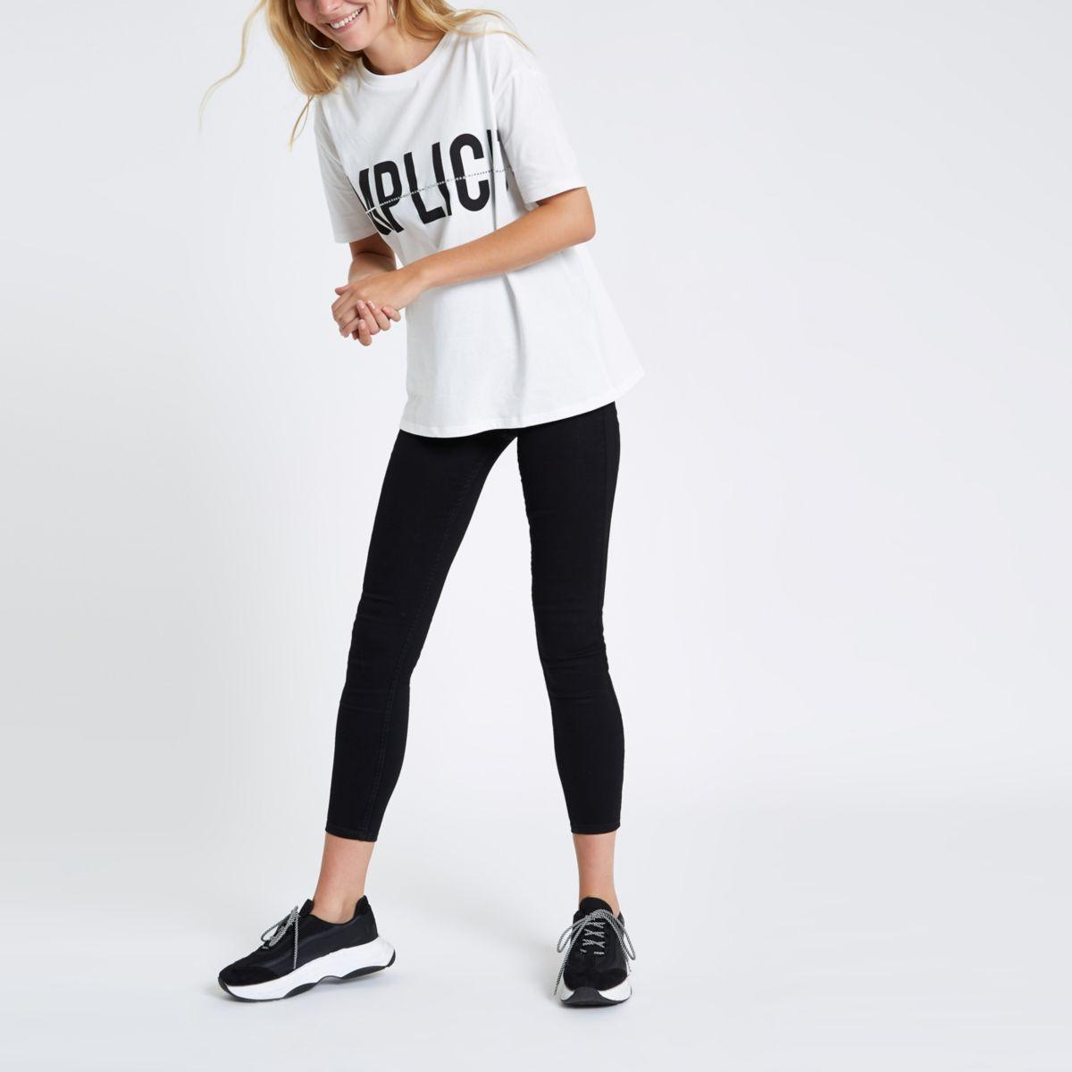 White 'Simplicite' print diamante T-shirt