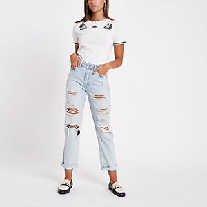 White bird print embellished T-shirt