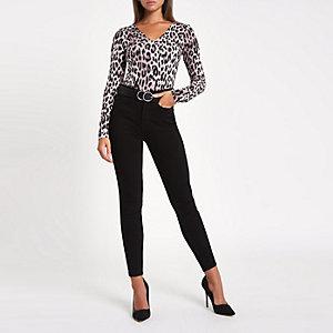 Brown leopard print long sleeve body