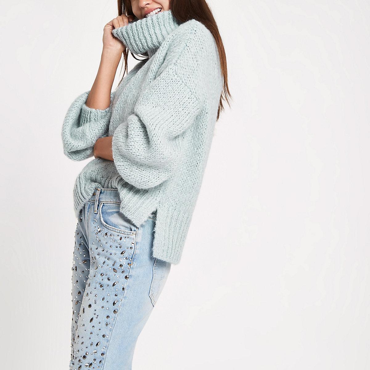 Light green roll neck knit jumper