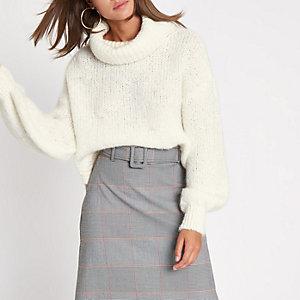 Cream roll neck knit jumper