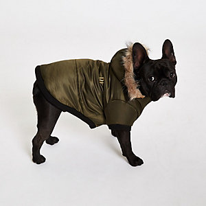 RI Dog Khaki dog hooded puffer jacket