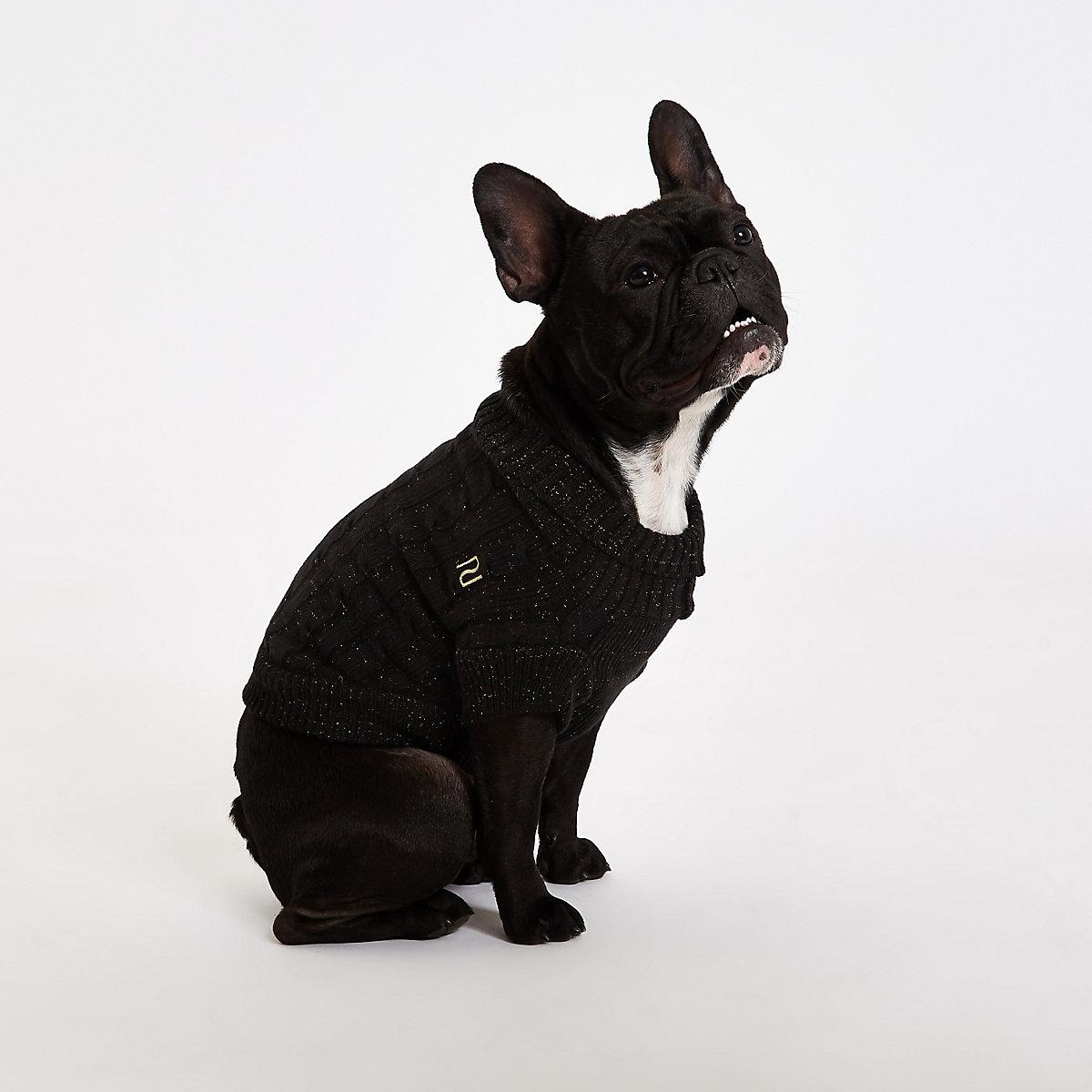 RI Dog Black dog roll neck sweater