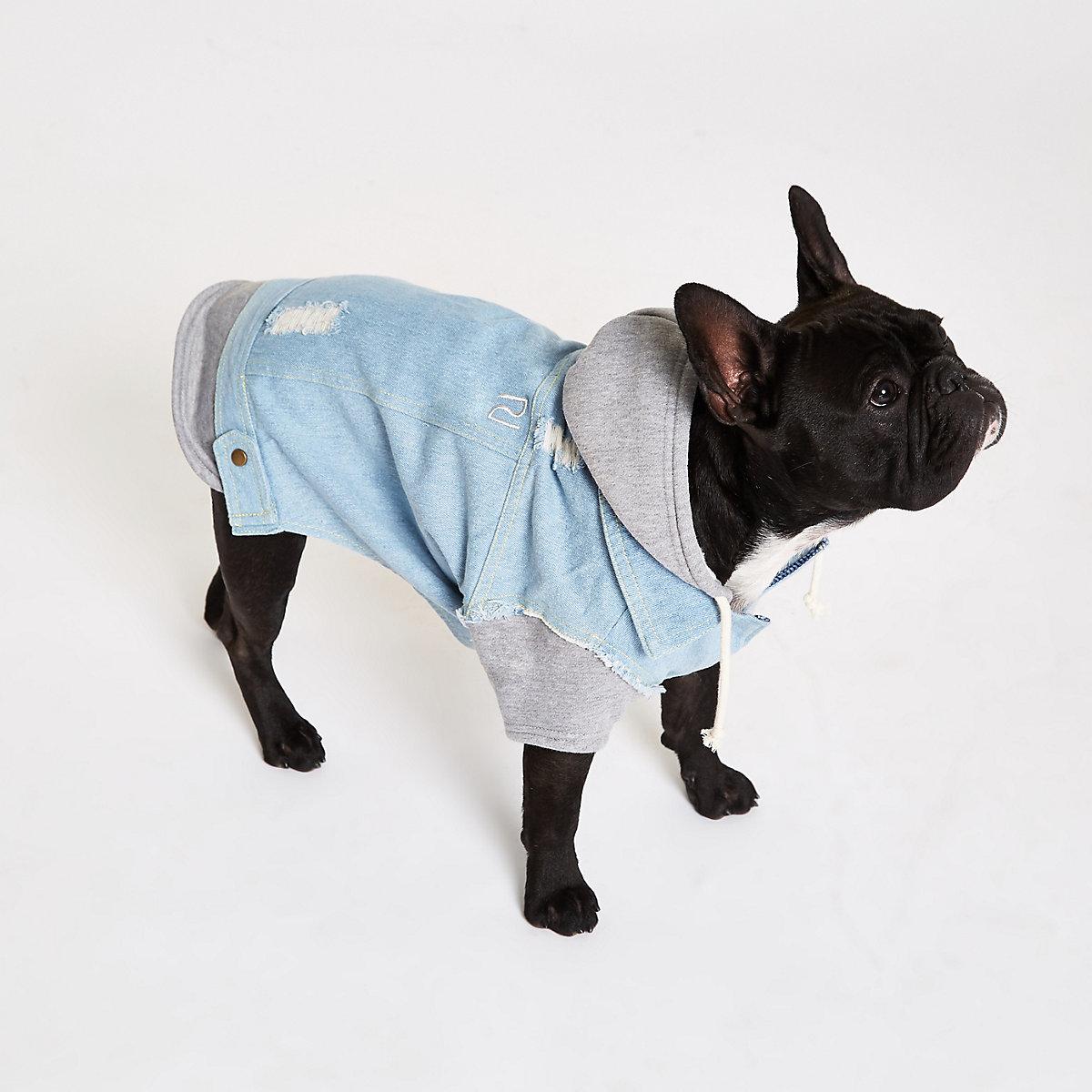 Blue dog hooded denim jacket