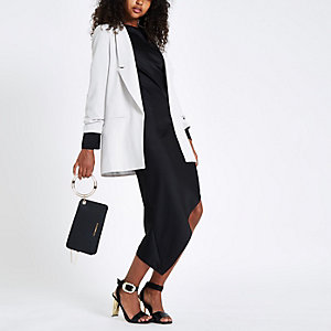 Grey ruched sleeve longline blazer