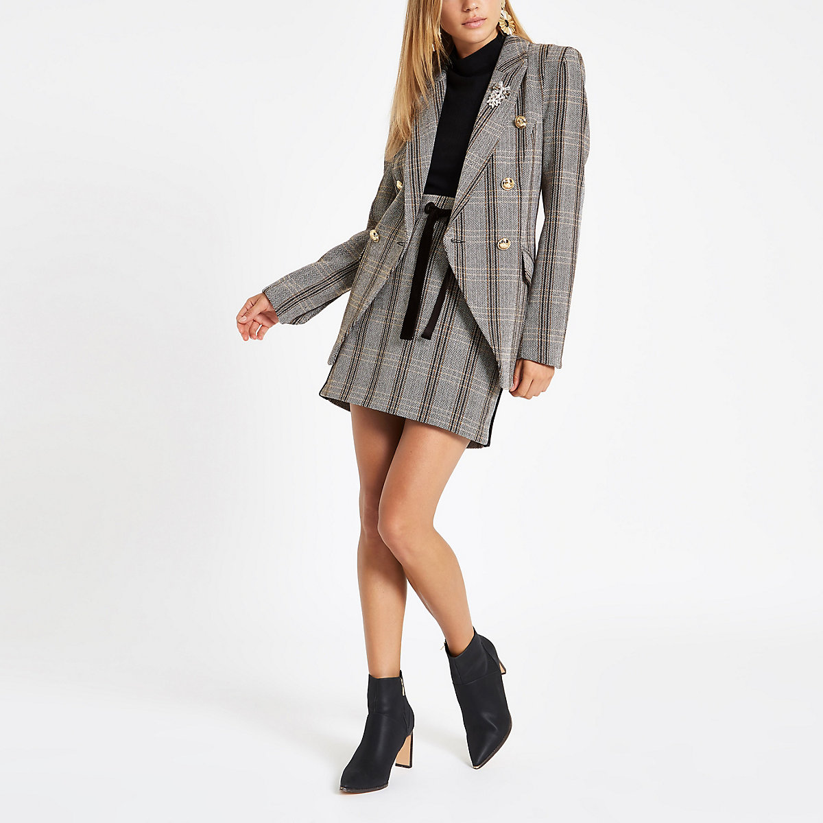 Grey check double-breasted blazer