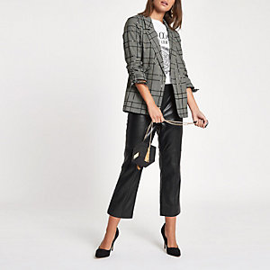 Black sequin check print ruched sleeve blazer