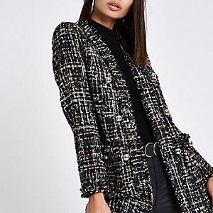 Black check boucle coat