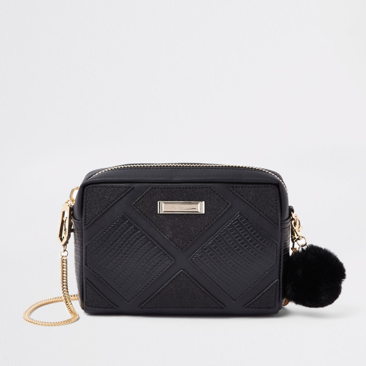 Black cutabout boxy cross body bag