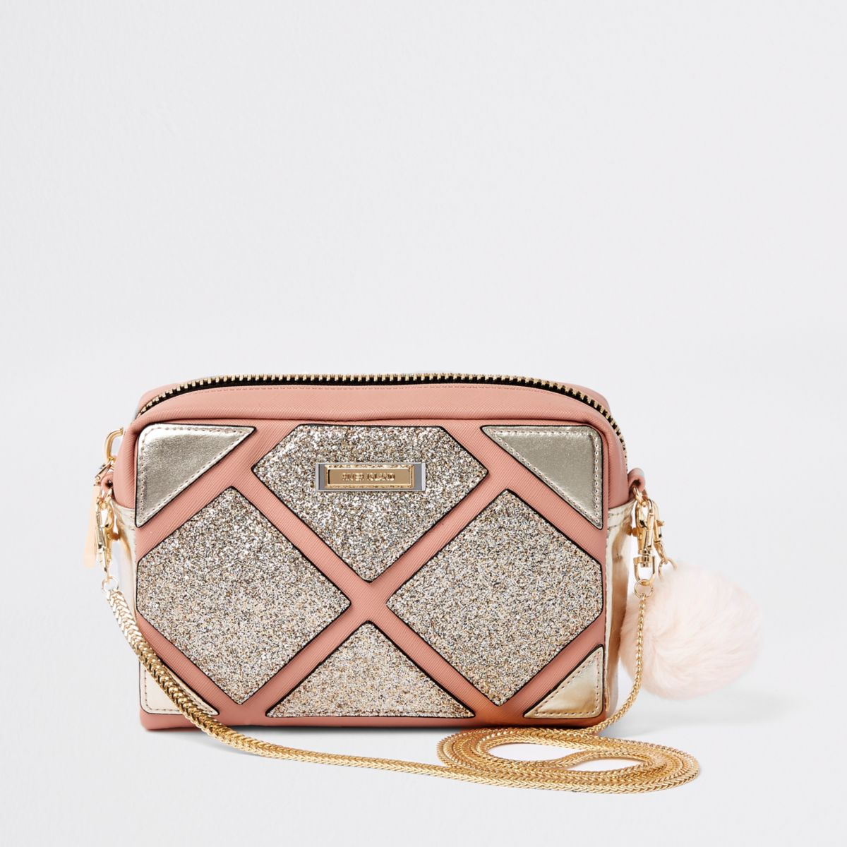 Pink cutabout metallic boxy cross body bag