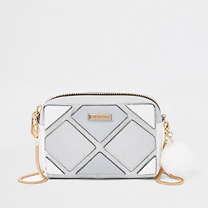 Blue cutabout glitter boxy cross body bag
