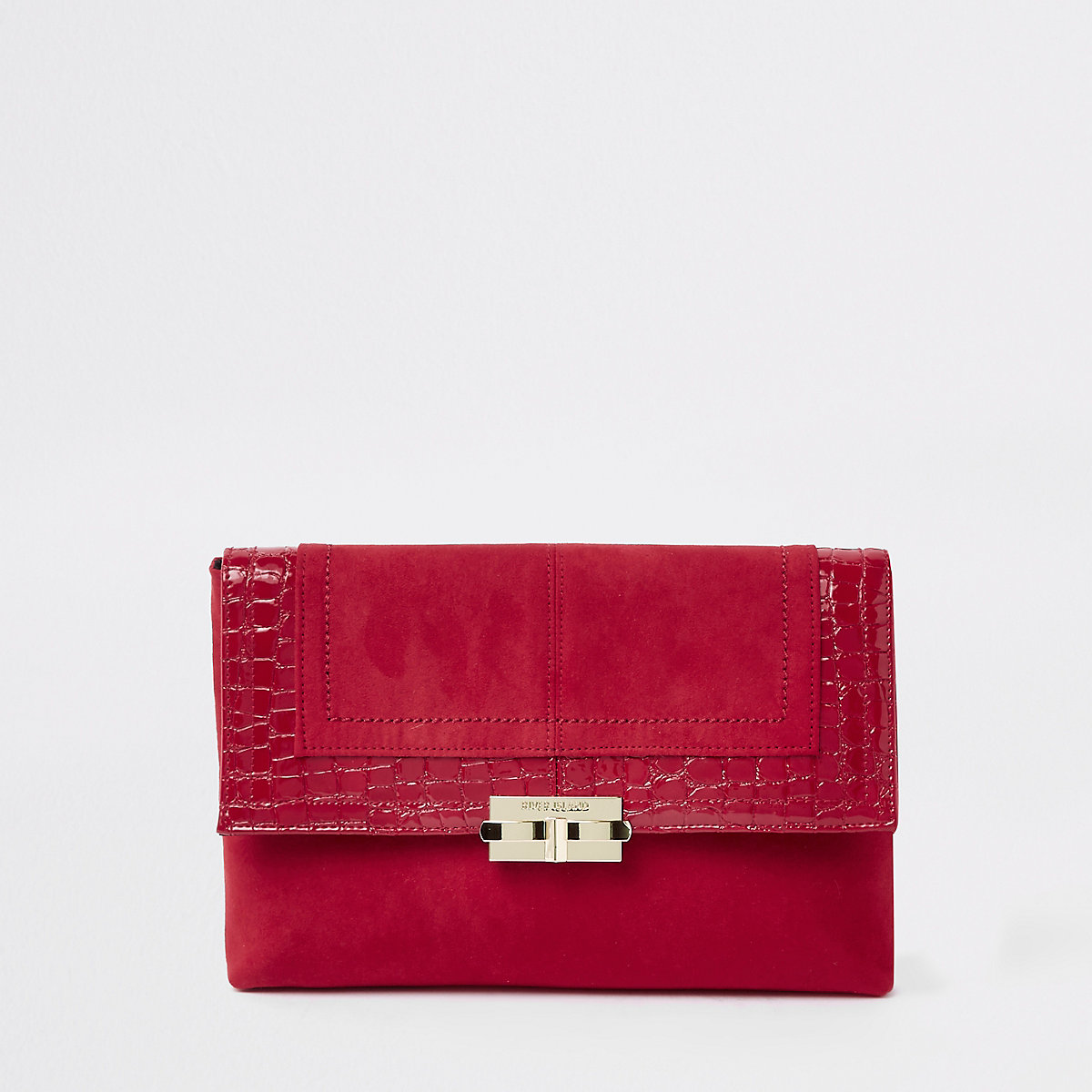 Dark red lock front clutch bag